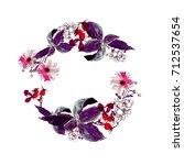 wreath of autumn flower  aster  ... | Shutterstock . vector #712537654
