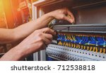 the man is repairing the... | Shutterstock . vector #712538818