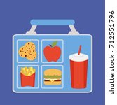 lunchbox with apple  coockies ... | Shutterstock . vector #712551796