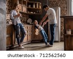 cute little girl and her... | Shutterstock . vector #712562560