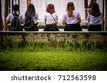 group of female students... | Shutterstock . vector #712563598