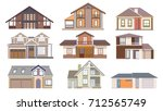 set of colored houses ... | Shutterstock .eps vector #712565749
