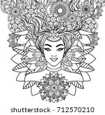 beautiful woman on a mandala... | Shutterstock .eps vector #712570210