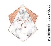 marble polygonal frame. copper... | Shutterstock .eps vector #712573330