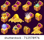 golden trophies in isometric... | Shutterstock .eps vector #712578976