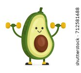 cute happy smiling avocado... | Shutterstock . vector #712581688