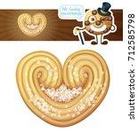 puff pastry heart cookie... | Shutterstock .eps vector #712585798