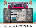 retro outdated hi fi stereo... | Shutterstock . vector #712589104