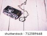 old retro vintage camera... | Shutterstock . vector #712589668