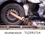 car accident. auto crash  wreck ... | Shutterstock . vector #712591714
