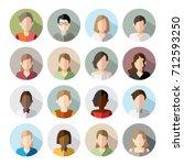 16 avatars  women  and men... | Shutterstock .eps vector #712593250