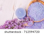 spa candle and salt. cosmetic... | Shutterstock . vector #712594720