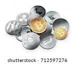 huge stack of cryptocurrencies...   Shutterstock . vector #712597276