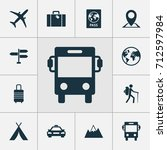 journey icons set. collection... | Shutterstock .eps vector #712597984