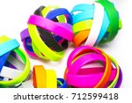 rubber bracelets. silicone... | Shutterstock . vector #712599418
