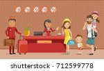family checking in hotel at... | Shutterstock .eps vector #712599778