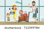 family travel. father  mother ... | Shutterstock .eps vector #712599784