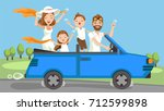 happy family traveling by blue... | Shutterstock .eps vector #712599898