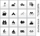 set of 16 editable trip icons.... | Shutterstock .eps vector #712601896