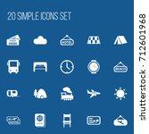 set of 20 editable trip icons....