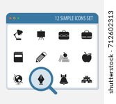 set of 12 editable knowledge... | Shutterstock .eps vector #712602313