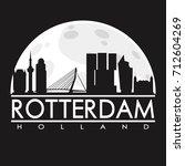 rotterdam full moon night... | Shutterstock .eps vector #712604269