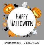 happy halloween background.... | Shutterstock .eps vector #712604629