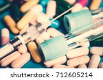 syringe  medical injection ... | Shutterstock . vector #712605214