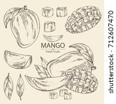 collection of mango fruit  ... | Shutterstock .eps vector #712607470