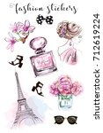 cute hand drawn set with... | Shutterstock .eps vector #712619224