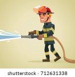 smiling fireman character... | Shutterstock .eps vector #712631338