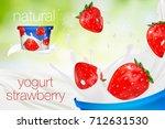 milk ad or 3d strawberry yogurt ... | Shutterstock .eps vector #712631530