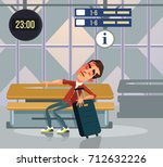 sleepy tourist man character... | Shutterstock .eps vector #712632226