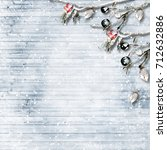 winter background with frost... | Shutterstock . vector #712632886