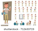 set of office man worker... | Shutterstock .eps vector #712633723