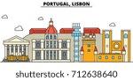 portugal  lisbon. city skyline  ... | Shutterstock .eps vector #712638640