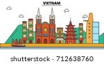 vietnam  . city skyline ... | Shutterstock .eps vector #712638760