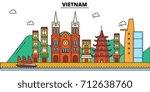 vietnam  . city skyline ... | Shutterstock .eps vector #712638760