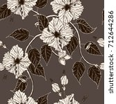 hibiscus flower pattern by hand ... | Shutterstock .eps vector #712644286