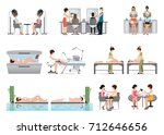 people in spa beauty salon and... | Shutterstock .eps vector #712646656