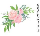 peony flowers bouquet... | Shutterstock . vector #712648063