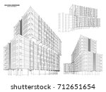 perspective 3d wireframe of...   Shutterstock .eps vector #712651654