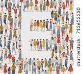 crowd of people in the shape of ... | Shutterstock .eps vector #712652230
