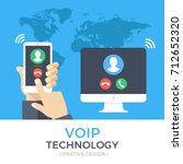voip technology  voice over ip  ... | Shutterstock .eps vector #712652320