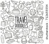 travel tourism tools doodle... | Shutterstock .eps vector #712655554