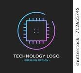 microchip line icon. cpu ... | Shutterstock .eps vector #712655743