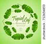 set of tropical leaves   banana ... | Shutterstock .eps vector #712656853