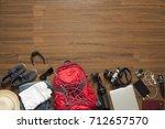 top view of traveler's... | Shutterstock . vector #712657570