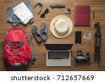top view of traveler's... | Shutterstock . vector #712657669