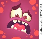 cartoon angry monster face.... | Shutterstock .eps vector #712658194